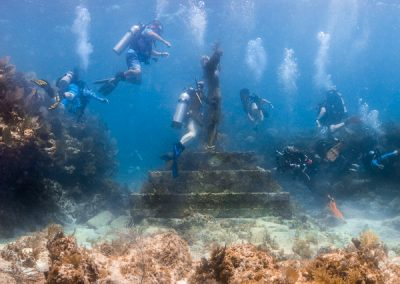 Divers at Christ of the Abyss Statue, Key Largo